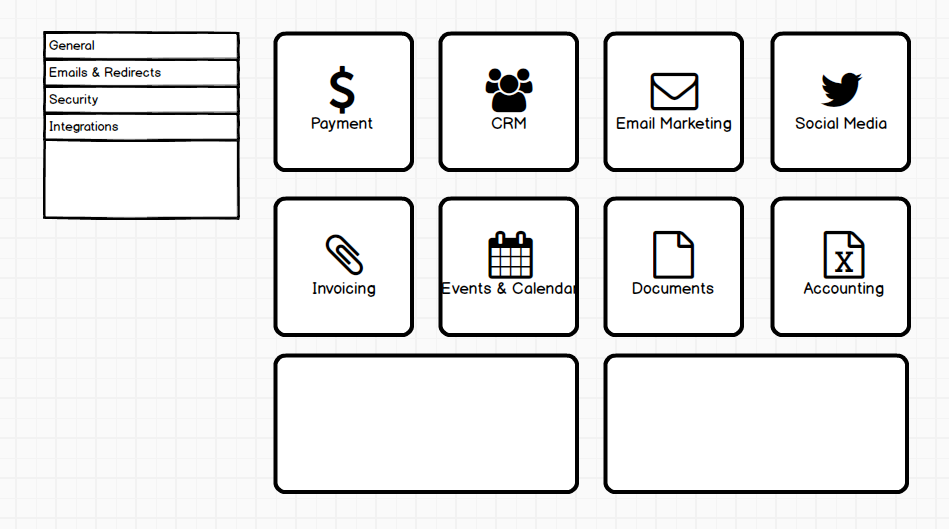 Formstack Integrations Interface Wireframe